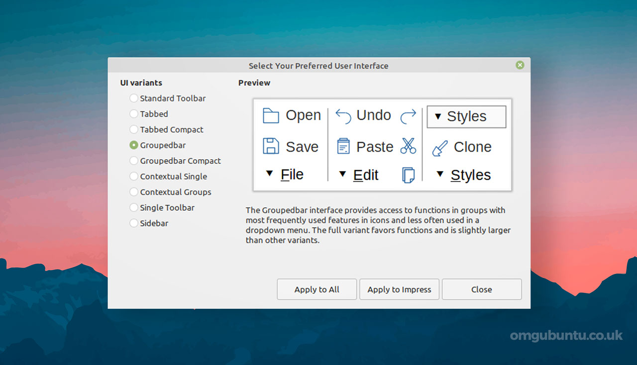 LibreOffice 7.1: User Interface Dialog