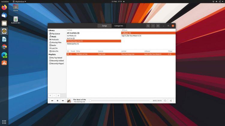 Rhythmbox in Ubuntu 20.04 LTS with the alternative toolbar enabled