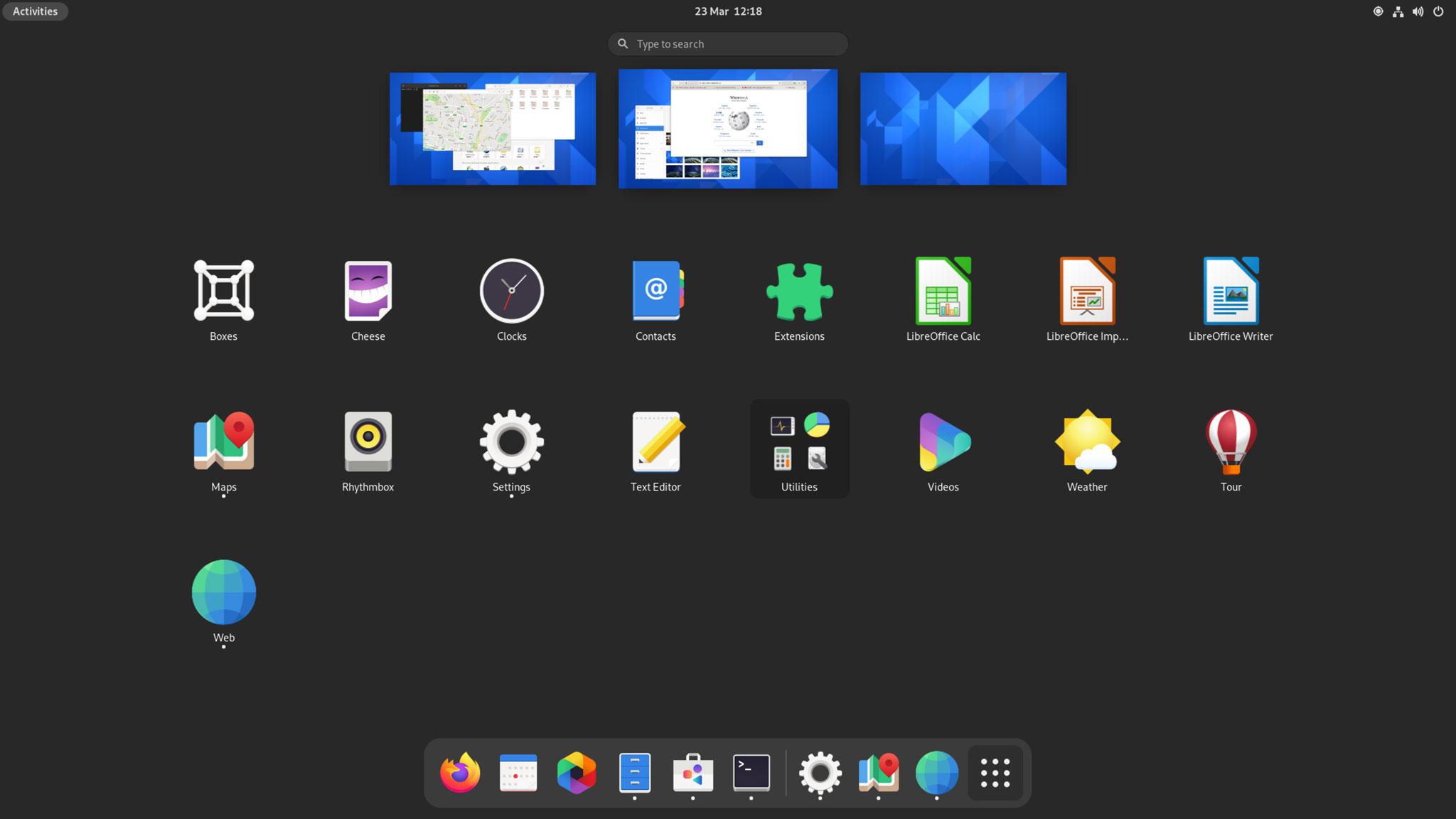 GNOME 40 app launcher