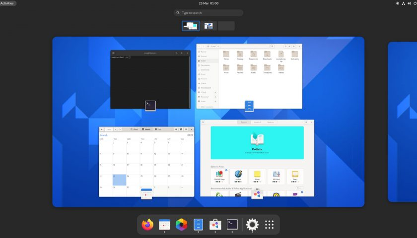 GNOME 40 Overview screenshot