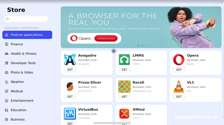 JingOS Screenshot showing app store