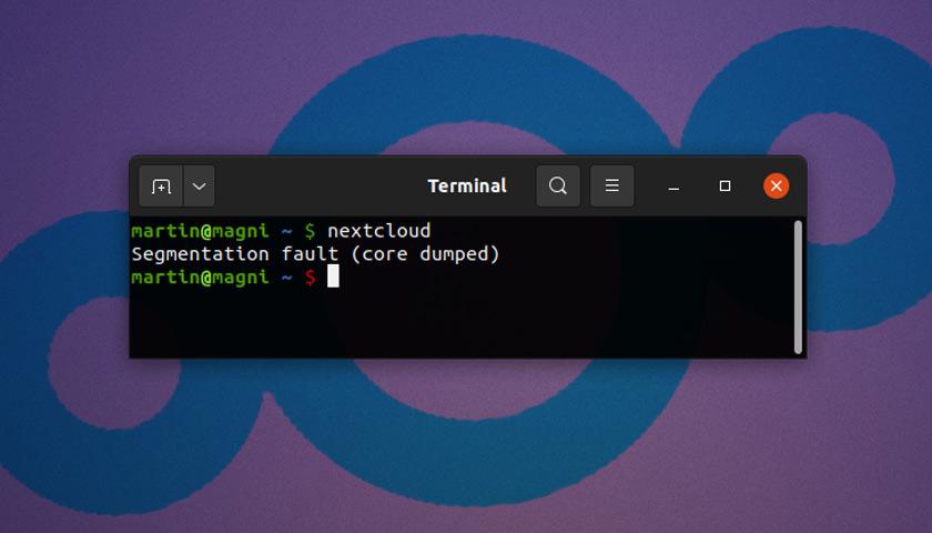 nextcloud bug in Ubuntu 21.04