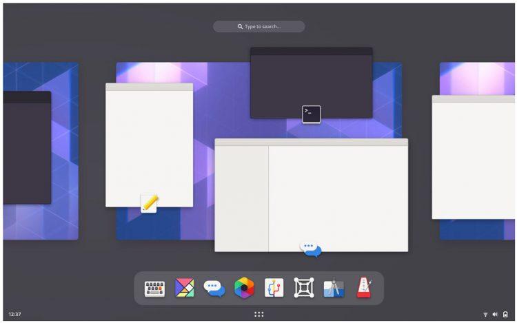 GNOME mockup: workspace switcher