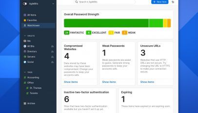 1Password Linux app running Fedora