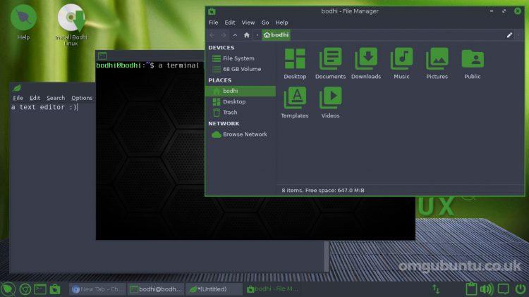 Bodhi Linux 6.0 screenshot showing green border