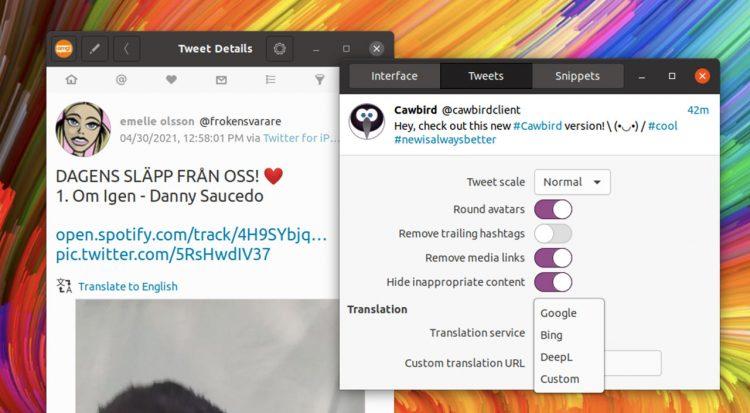 Cawbird 1.4 adds translation feature