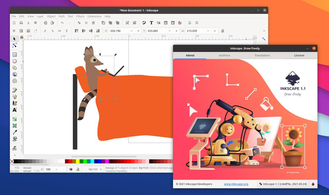 inkscape 1.1 ubuntu screenshot