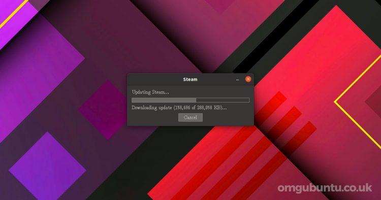 Steam update window on Ubuntu desktop