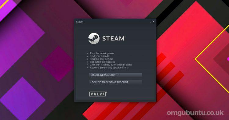 Steam login window on Ubuntu desktop
