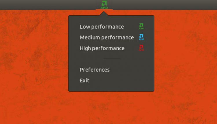 screenshot of Slimbook AMD Controller indicator applet