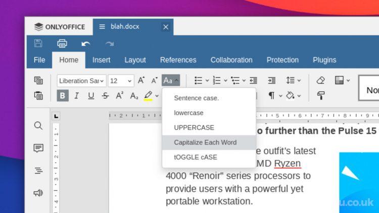 onlyoffice 6.3 change text case menu