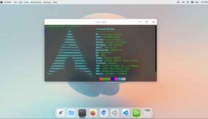 cutefish desktop environment installed on Arch Linux
