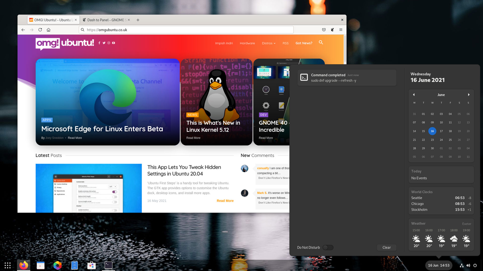 Dash to Panel on GNOME 40