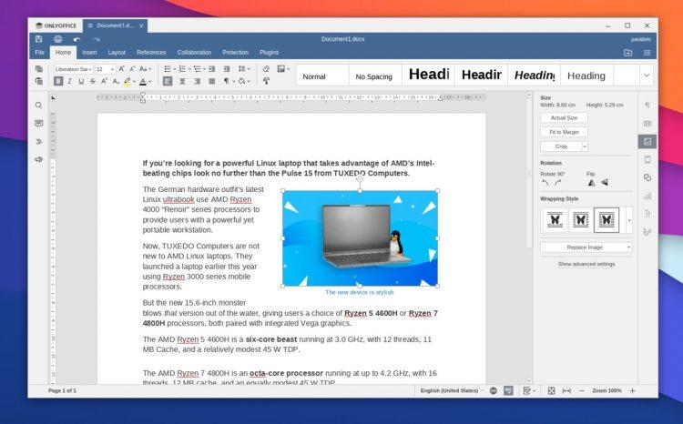 a screenshot of the ONLYOFFICE desktop editors on Ubuntu 20.04 LTS