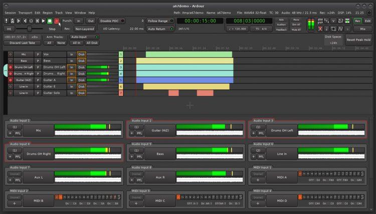 screenshot of Ardour 6.7 on Linux