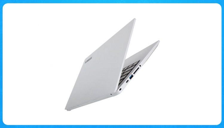 a photo of the slimbook executive laptop half shut