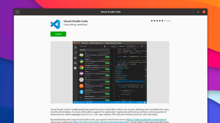 screenshot of visual studio code on the snap store