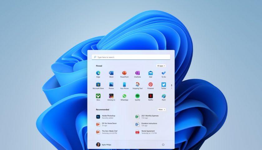screenshot of the Windows 11 start menu