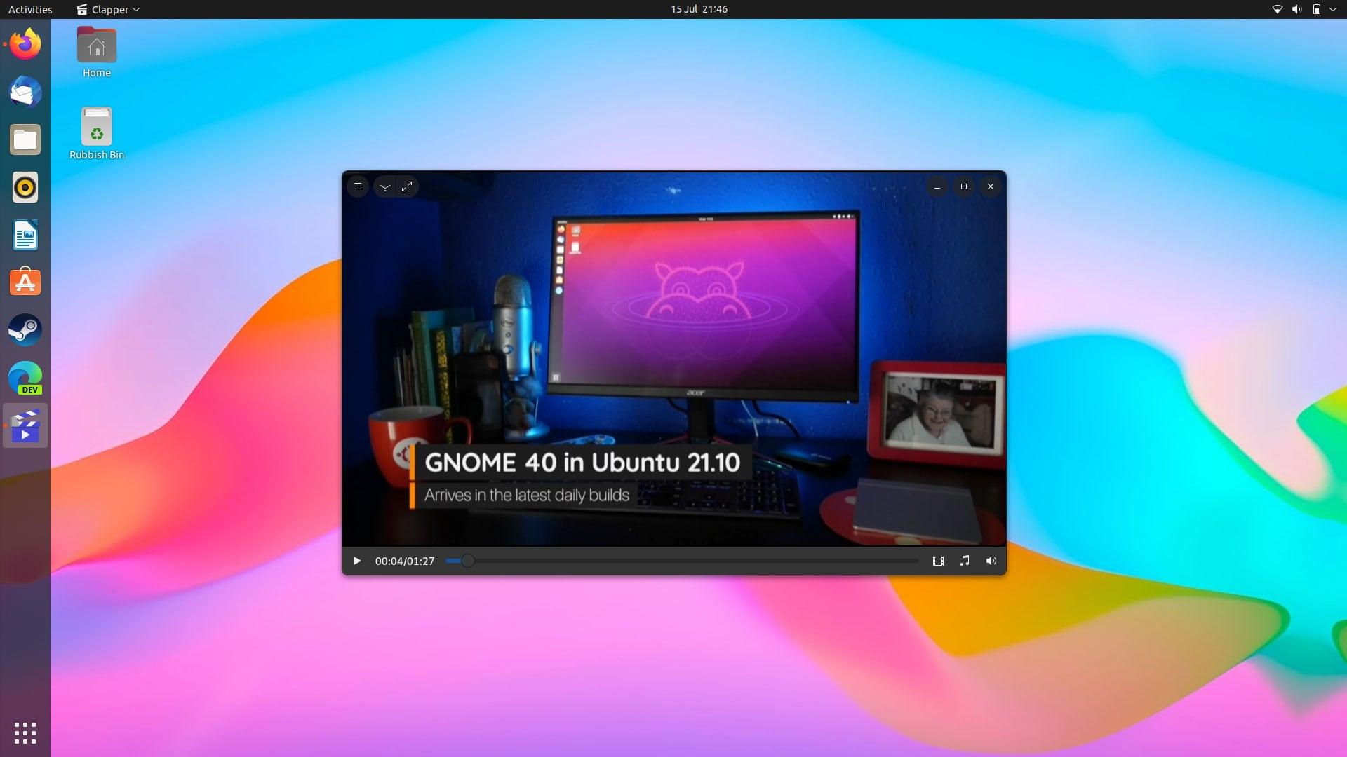 Screenshot of Clapper GTk video player
