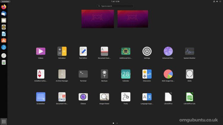 GNOME 40 App Launcher in Ubuntu 21.10 daily builds