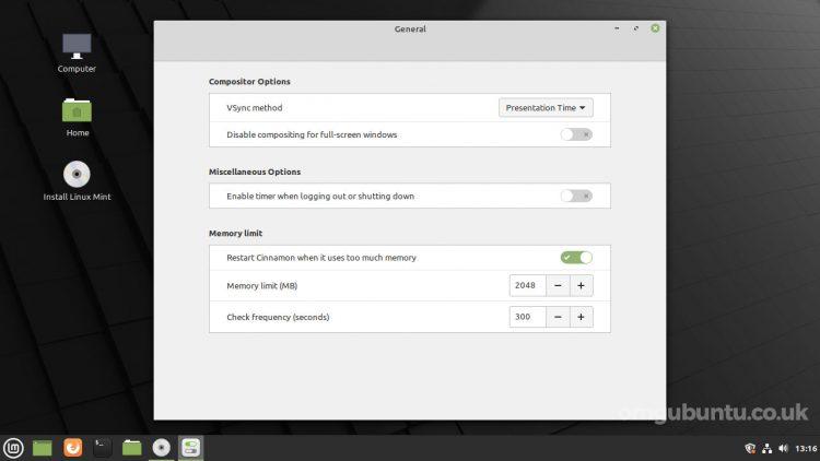 screenshot of Linux Mint 20.2 cinnamon preferences