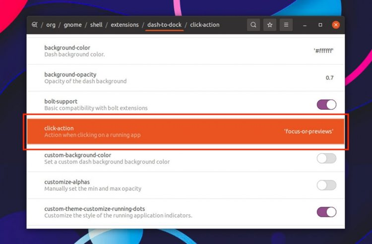 screenshot of the dconf editor setting users need to change
