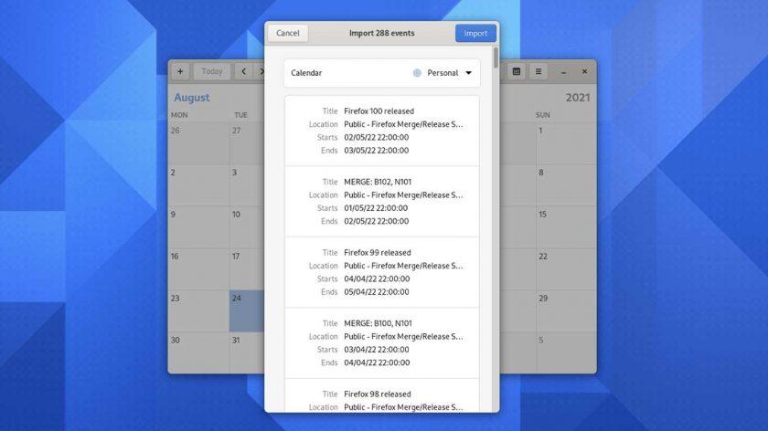 GNOME Calendar 41 opening an ICS file