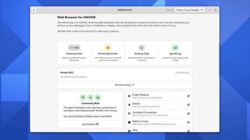 GNOME 41 app info tiles