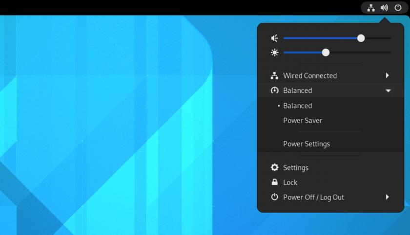 a screenshot of power profiles in the GNOME 41 status menu