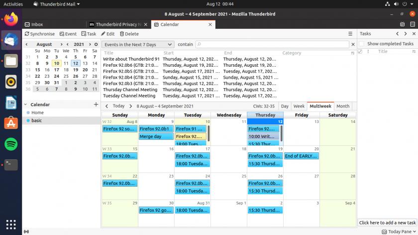 screenshot of thunderbird 91 calendar