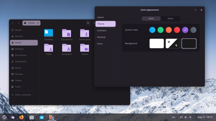 a screenshot of Zorin OS 16 dark mode with Zorin Appearance tool open