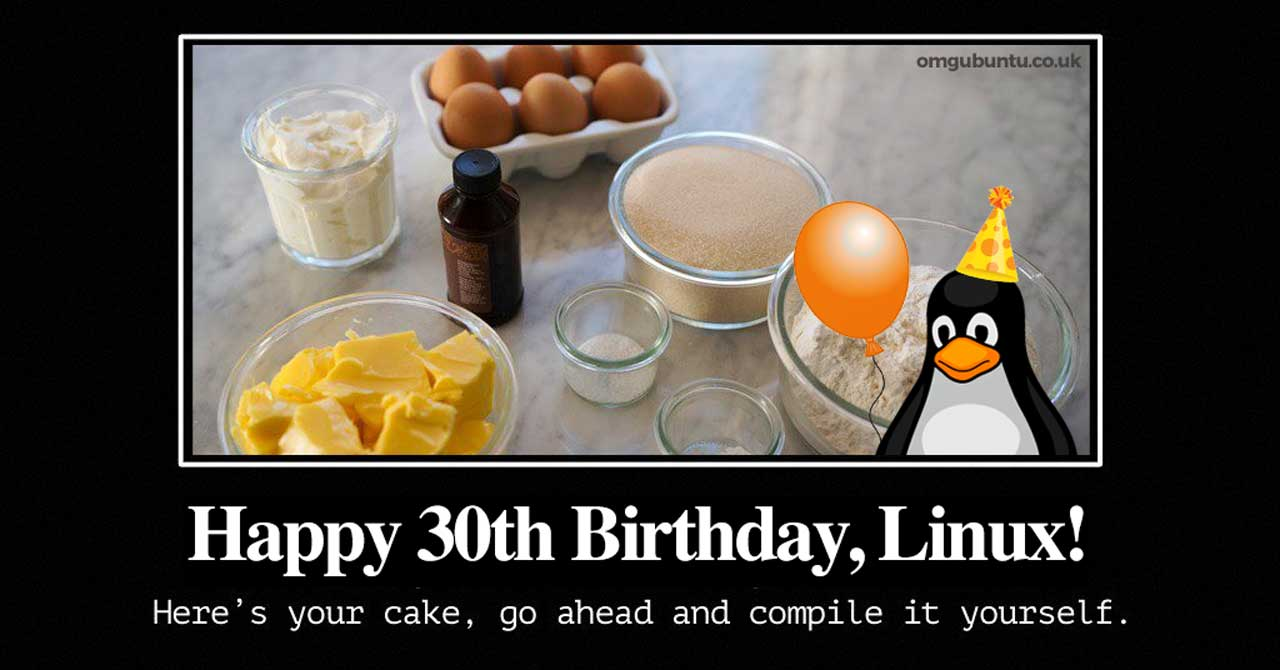 Linux birthday cake meme