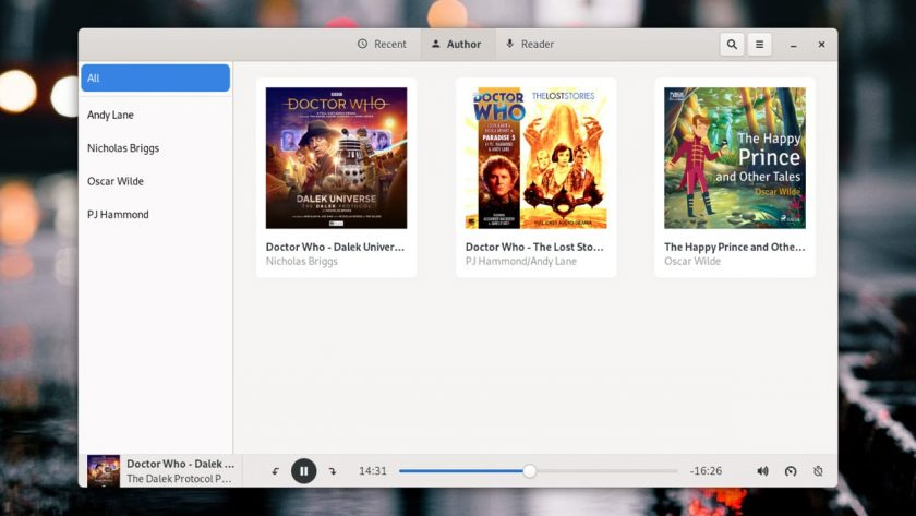 screenshot of Cozy audiobook player for linux