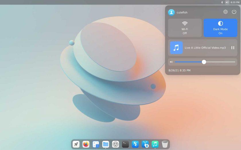 screenshot of CuteFish OS Ubuntu -control center in dark mode