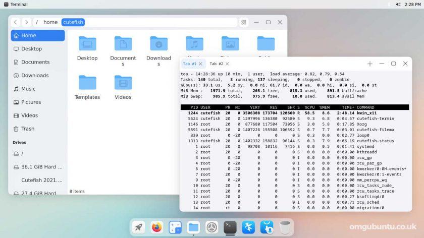 screenshot of CuteFish OS Ubuntu - file manager and terminal