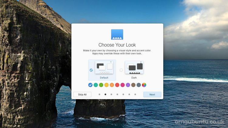 elementary OS 6 screenshot - choose your look screen