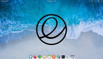 elementary OS logo on a desktop screenshot