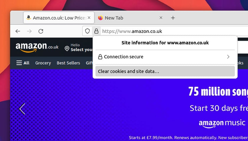 a screenshot of the clear cookies shortcut in Firefox 91