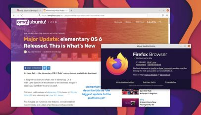 screenshot of Firefox 91 and the about dialog