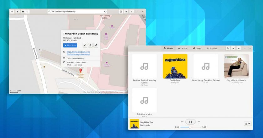 composite screenshot of gnome music and gnome maps in gnome 41