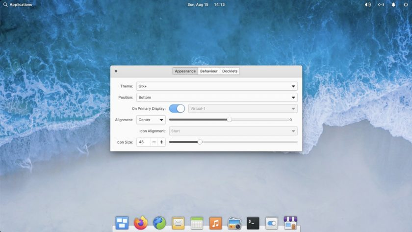 a screenshot of plank dock's appearance settings in elementary OS