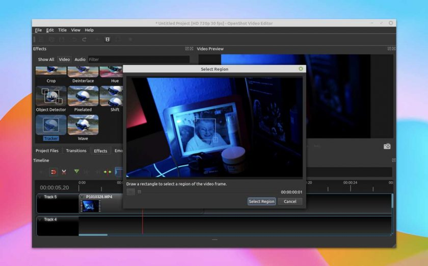 Motion tracking in OpenShot 2.6.0