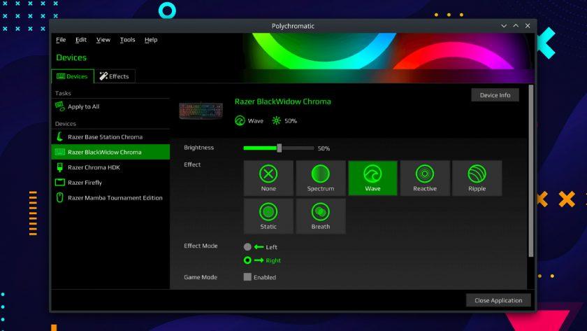 a screenshot of Polychromatic for Linux desktops