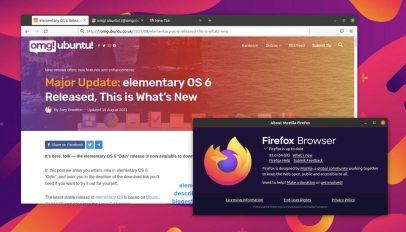 a screenshot showing the firefox 92 release on the ubuntu dektop