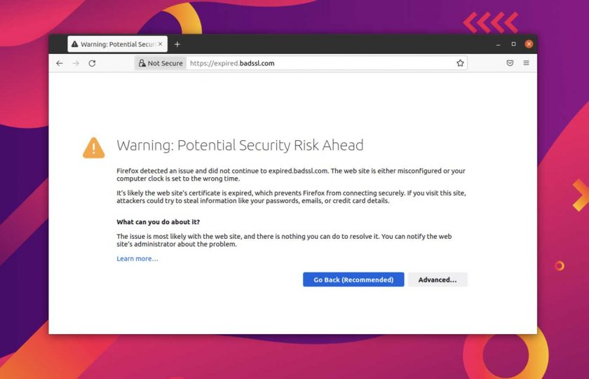a certificate warning page in Firefox 92