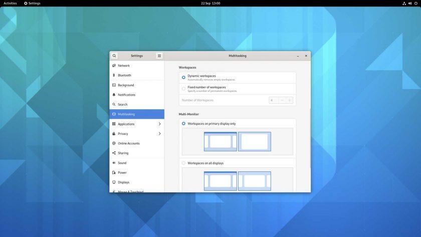 GNOME 41 multitasking settings screenshot
