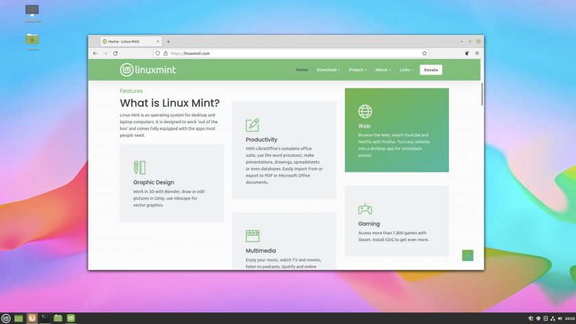 a screenshot of the firefox web browser running windowed on the cinnamon desktop, showing the linux mint home page