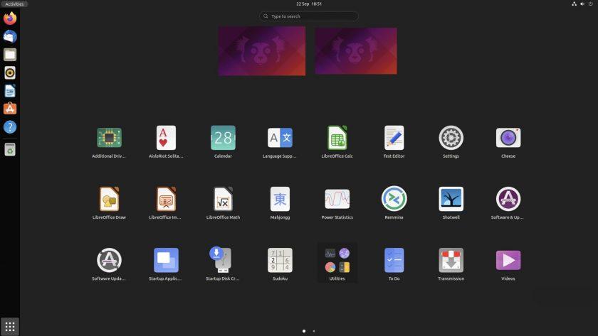 screenshot of application launcher in Ubuntu 21.10