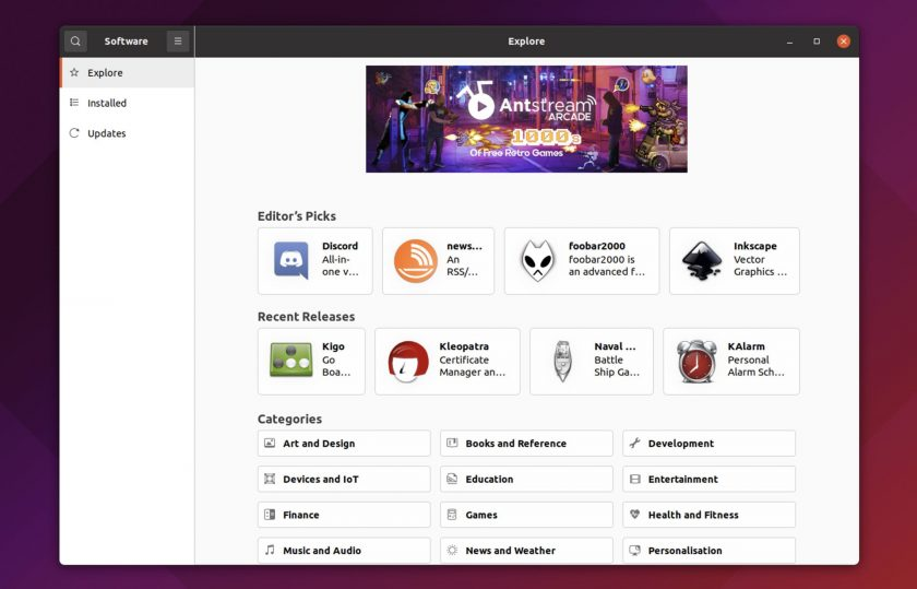 screenshot of snap store in Ubuntu 21.10